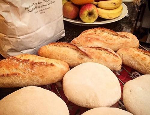 Baguettebrötchen meet Faluches. Letztere sind eine nordfranzösische Spezialität, die man mit der Restwärme des Baguetteofens backen kann – fluffige Weizenfladen, direkt und ohne Autolyse geführt – ein Träumchen für Konfitüren und Sandwiches.